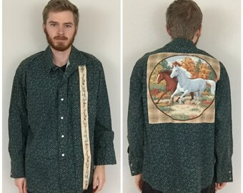 80s Horses All Over Pearl Snap Shirt size 2XL ~ 35746