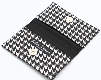 Fabric Card Holder, Card Wallet, Business Card Case, Gift Card Case Women, Small Handmade Wallet - black and white houndstooth