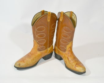 1980s Brown Two Tone Cowboy Boots Mens Size 7.5 D by Leather Foot