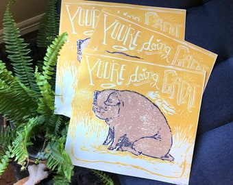 PIGsperational Poster Handprinted 3 Color Woodcut