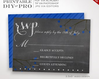 RSVP Wedding Template - Chalkboard Wedding Response Card - Printable DIY Blackboard Berries r.s.v.p. Wedding Editable Custom Chalkboard RSVP
