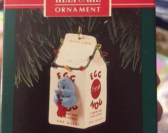 1992 Hallmark Keepsake Egg Nog Nest Christmas Ornament Free Shipping