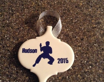 Personalized Karate White Tile Christmas Ornament
