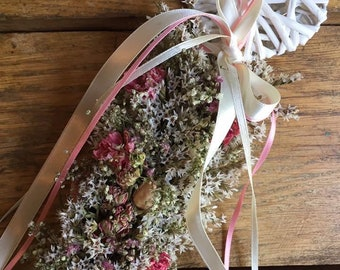 Flowergirl floral Wand. Made from Natural Dried Flowers and Grasses for a rustic, vintage or country feel. Star. Heart. Wicker. Wedding