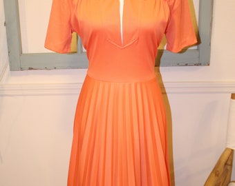Vintage, 1960s, 1970s, Orange, Day Dress, Disco, Hippi, A Line, Swing Skirt, Pleated Skirt,