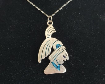 Taxco Sterling Silver Turquoise Necklace Pendant Mayan, Taxco Sterling Silver Mayan Pendant with Turquoise Inlay, Taxco Pendant, Pendant,
