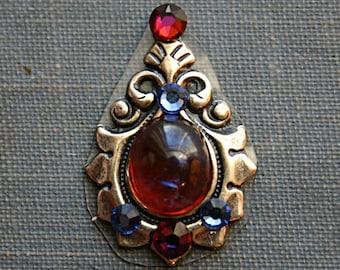 Lotus Bindi - ATS, Tribal Fusion, Belly Dance, Facial Jewelry, Flower, Third Eye, Red, Blue Fire