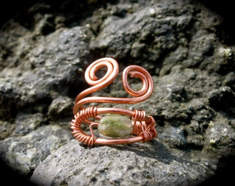 ANY SIZE Green Tourmaline Wire Wrapped Adjustable Healing Ring