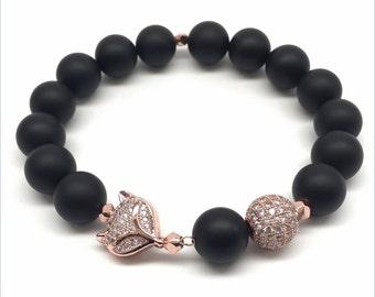 Black Onyx Fox Bracelet, Rose Gold, Micro Pave, Gemstone Bracelet, Black Jewelry, Beaded Bracelet, Matte Black Onyx , Rose Gold Jewelry