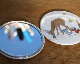 Cute Pocket Mirror, compact mirror, Woodland Mirror, Pocket Mirror, animal hand mirror, make up mirror, gift for her, animal lover gift