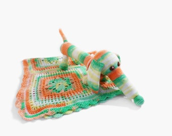 Crochet Baby Blanket and Stuffed Toy Dog, Baby Shower Gift New Mom Gift Granny Square Blanket Colorful Spring Colors Blanket Play Blanket