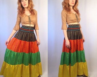 Vintage 1960's Floral Bohemian Maxi Calico Skirt SMALL