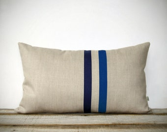 Cobalt Blue and Navy Striped Pillow - 12x20 - Modern Home Decor by JillianReneDecor - Colorful Colorblock Stripes - Indigo