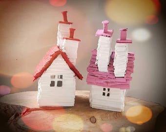 Scandinavian Inspired Recycled Cardboard House Models - Handmade Painted Christmas Ornaments Decorations with 2 Chimneys - MADE TO ORDER