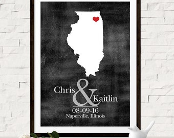 Unique Gift Idea for Couples, Custom Wedding Map, Personalized Name Sign, Illinois State Map, Any State or Country, Custom Wedding Map