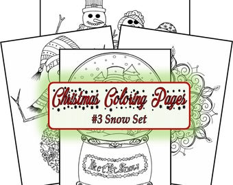DIGITAL DOWNLOAD** Christmas Coloring Pages #3 Snow Set **