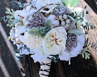 Silk Bridal Bouquet - Silk Flowers, Dahlias, Anemone, Sola Flowers, Lambs Ear, Dusty Miller, Silver Brunia, Eucalyptus, Hydrangea