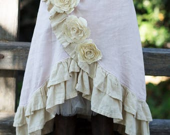 Praire Skirt - Girls Prairie Skirt with flowers and ruffles limited edition
