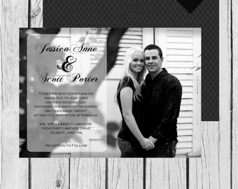 Picture Wedding Invitation, Picture, Black - Wedding Invitation / Bridal Shower / Baby Shower / Birthday - Digital and Printable Invitation