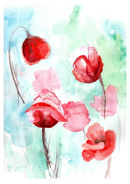 Red Poppy Flowers Watercolor Botanical Fine Art Print