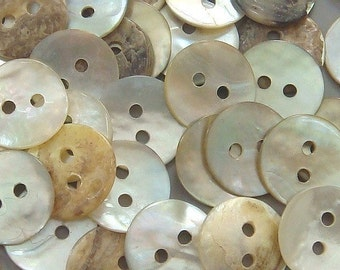 200 Round Shaped Mother of Pearl Shell Buttons EB18