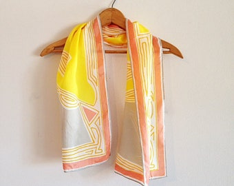 Vintage Vera Neumann Color Block Yellow Coral and Grey Scarf