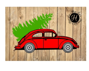 Volkswagen with Christmas tree  SVG DFX Christmas svg, Red Truck svg, Christmas tree svg