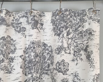 Grey or Brown Toile Shower Curtain 72 x 72 or 72 x 84