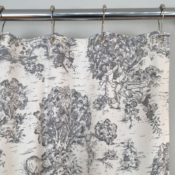 Grey Or Brown Toile Shower Curtain 72 X 84