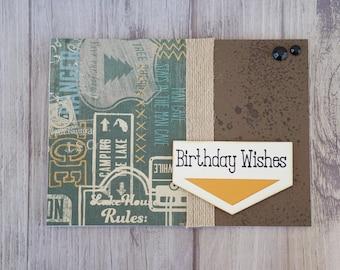 Birthday Wishes, Happy Birthday, Birthday, Handmade Card, Greeting Card, Mud, Camping, Masculine, Male, Mud Splatter