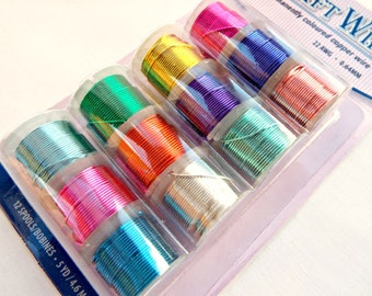 22 Gauge Wire, 12 Spools Copper Wire, Colored Copper Wire, Pk 12 Copper Wires, Silver Plated Craft Wire, 12 Permanently Colored Copper Wire