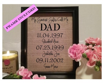 FRAMED Christmas Gift for Dad, Gift for Dad, My Greatest Gifts Call me, Gift for Dad Birthday, Personalized gift for Dad, gift from kids