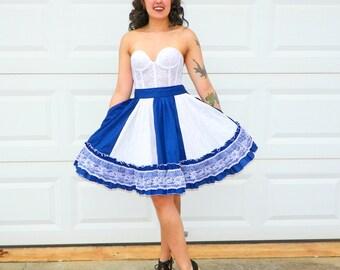 Vintage Navy and White Square Dancing Skirt High Waist Full Skirt Lolita White Lace Blue Princess Skirt Swing Dance Size Medium