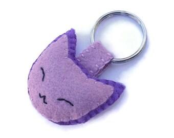 Purple felt cat key ring, embroidered kitty keychain, lavender fabric cat, plush kitten key chain, cute cat