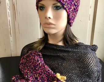 Purple Hat and Mittens Set Crochet Hat Crochet Mittens