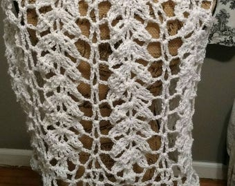 Classic wheat stitch hand crocheted capelet communion flower girl