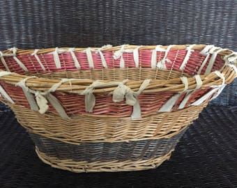 Wicker Laundry Clothes Basket / Large Oval Wicker Basket, Gypsy  Red, White, Blue, Natural , Fourth of July, Hippie, Boho, Storage Basket