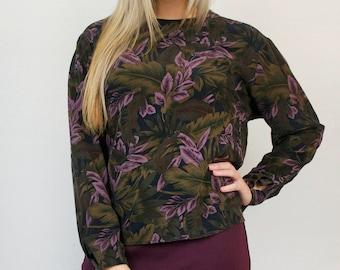Vintage Leafy Floral Print Long Sleeve Blouse Loose Fit Lightweight Top Shirt