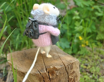 Mouse in sweater needle felted animal felt mice felted mouse with book waldorf felted wool animals felt ornaments mouse doll wool toys tiny