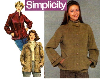 Simplicity 9743 Womens Casual Raglan Sleeved Jacket 80s Vintage Sewing Pattern Size 10 Bust 32 1/2 inches UNCUT Factory Folded