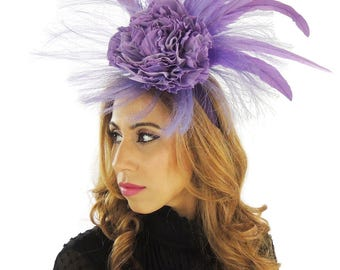 Zuriel Lilac Fascinator Hat for Weddings, Kentucky Derby With Headband (20 colours)