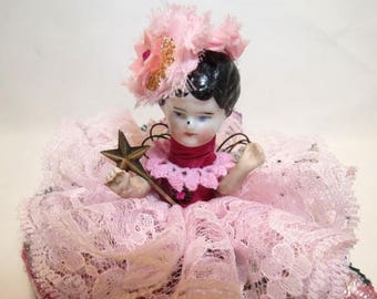 "Assemblage Angel ""Rosy Pink""  Assemblage Art Doll, Antique Doll Parts, Vintage Style Art Doll"