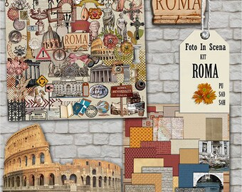 Digital kit ROME, antiques,travel, Italy, monuments, statues, wall, stone