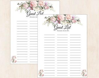 printable guest list for wedding