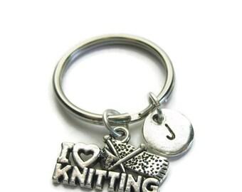 I Love Knitting Personalized Keychain, Knitting Keychain, Personalized Keychain, Initial Keychain, Customized Keychain