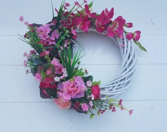 Wreath//door pendant//gift//handmade//various flowers//pink//rattan//decoration//gift mother, girlfriend//Sunflower Brocant