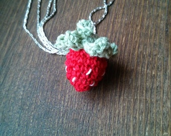 Strawberry Micro Crochet Pendant, Red