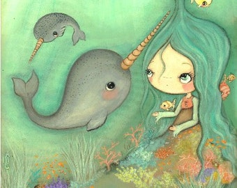 Narwhal Print Whimsical Sea Girl Ocean Fish Cute Jellyfish Nursery Children Art Decor--- Under The Sea LARGE PRINT 11 x 14