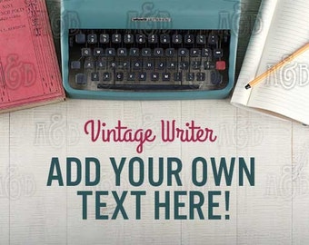 Vintage Styled Image for Web Blog Header or Print - Stock Photo with Antique Book, Typewriter and Note Book
