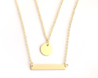 Set of Layered Gold Coin & Gold Bar Necklace - Gold Plated Necklace - Made in Canada - Gold bar necklace - Gold disk necklace Canada